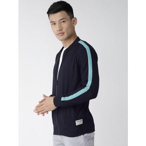 Hubberholme Men Navy Blue Solid Sweatshirt