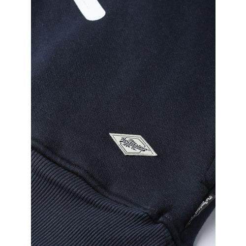Roadster Men Navy Blue & White Printed Hooded Sweatshirt
