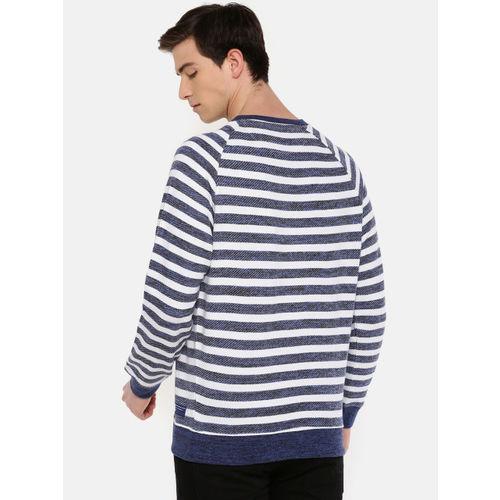 Wrangler Men Navy Blue & White Striped Sweatshirt