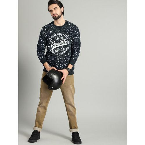 Roadster Men Navy Blue Printed Sweatshirt