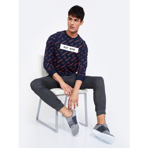Kappa Men Navy Blue & Orange Printed Sweatshirt