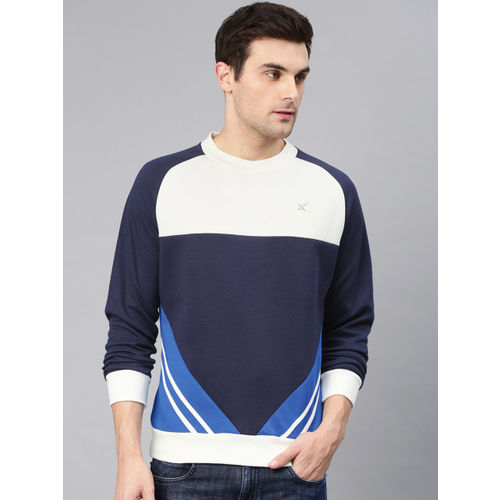 HRX by Hrithik Roshan Men Navy Blue & White Colourblocked Sweatshirt
