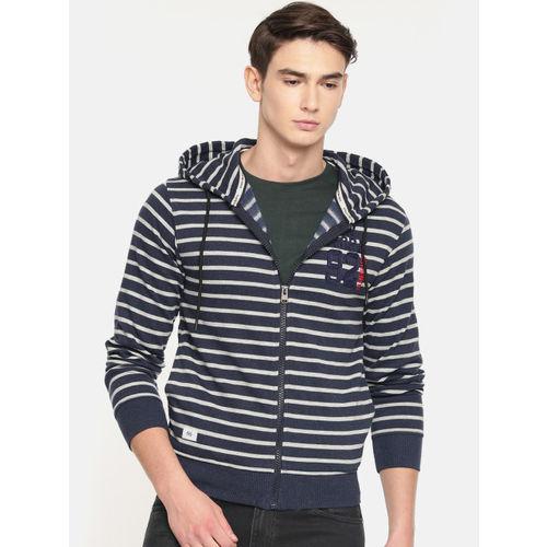 Sports52 wear Men Navy Blue & Grey Striped Embroidered Hooded Sweatshirt