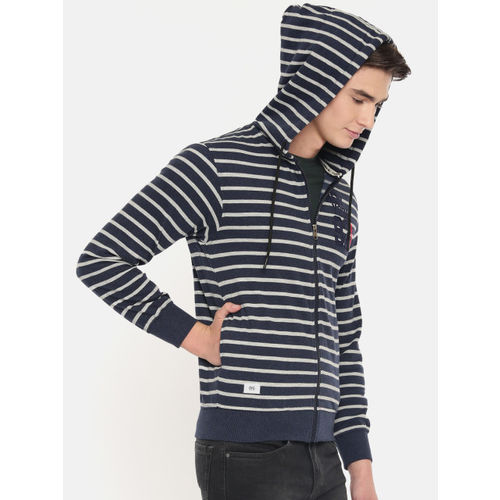 Sports52 wear Men Navy Blue & Grey Striped Embroidered Hooded Sweatshirt