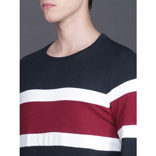 WROGN Men Navy Blue & Maroon Colourblock Slim Fit Sweatshirt