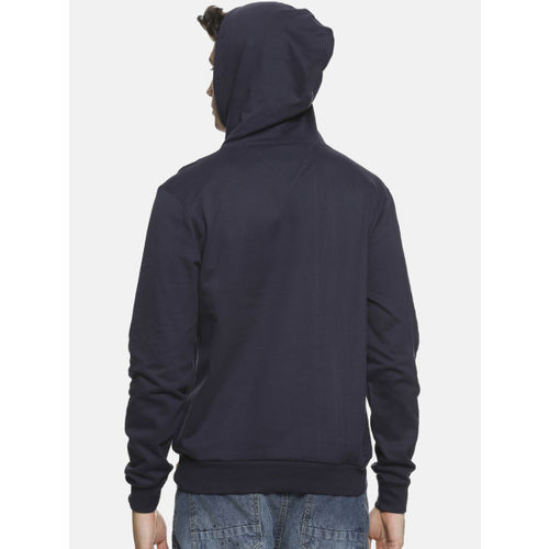 Campus Sutra Men Navy Blue Printed Hooded Sweatshirt