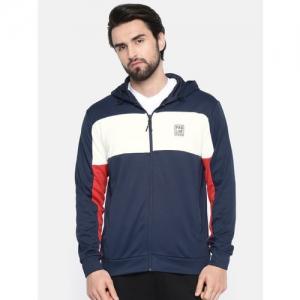 Proline Active Men Navy Blue & White Colourblocked Comfort Fit Sweatshirt