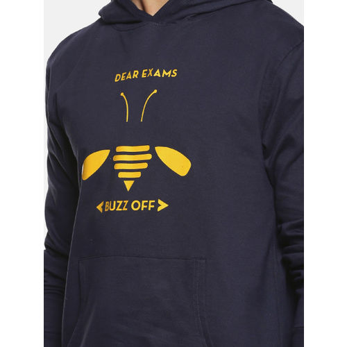 Campus Sutra Men Navy Blue Printed Hooded Sweatshirt