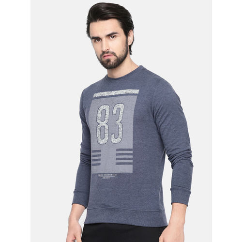 Proline Active Men Blue Printed Comfort Fit Sweatshirt