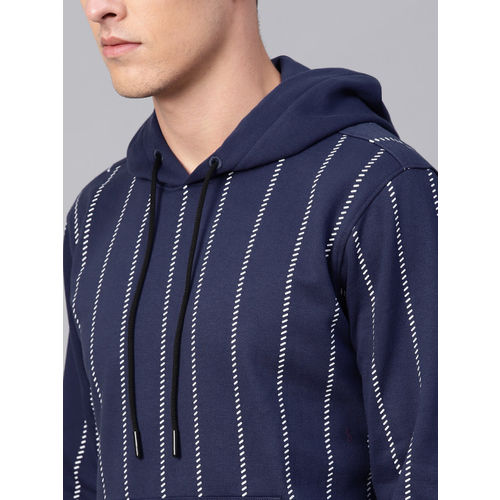 HRX by Hrithik Roshan Men Navy Lifestyle Hooded Allover Printed Sweatshirt
