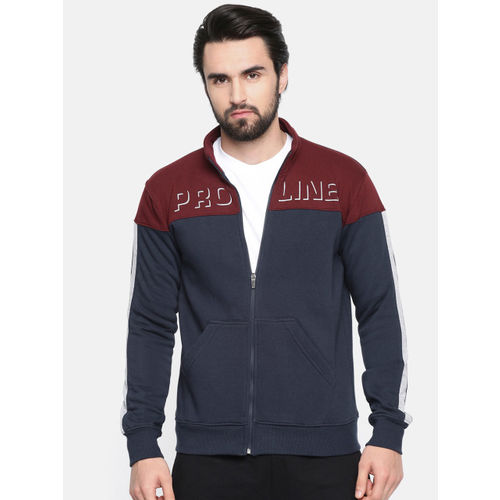 Proline Active Men Navy Blue & Maroon Colourblocked Comfort Fit Sweatshirt