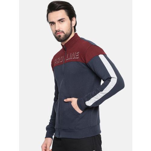 Proline Active Men Navy Blue & Maroon Colourblocked Comfort Fit Sweatshirt