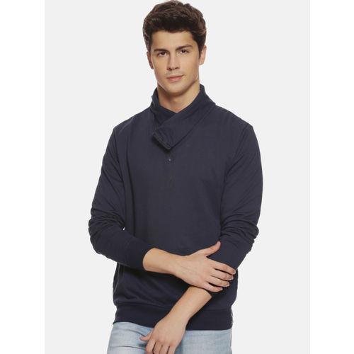 Campus Sutra Men Navy Blue Solid Sweatshirt