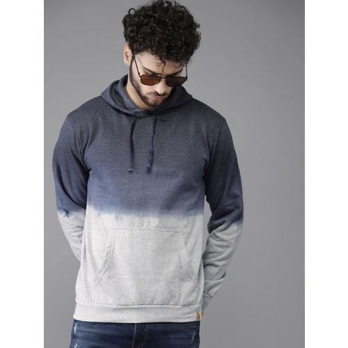 Campus Sutra Men Navy Blue & Grey Colourblocked Hooded Sweatshirt
