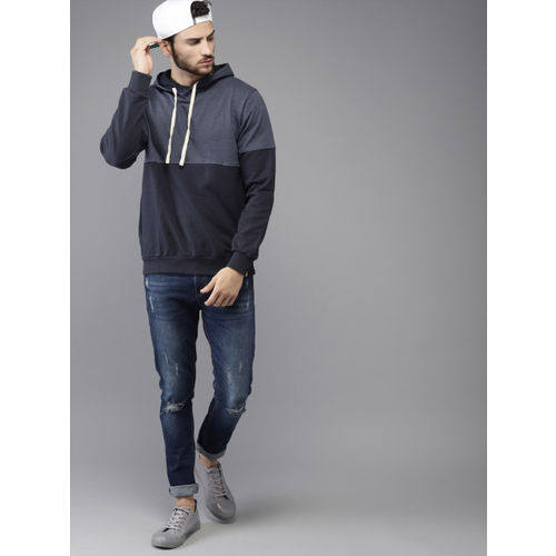 Campus Sutra Men Navy Blue Colourblocked Hooded Sweatshirt