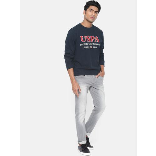 U.S. Polo Assn. Denim Co. Men Navy Blue Embroidered Pullover Sweatshirt