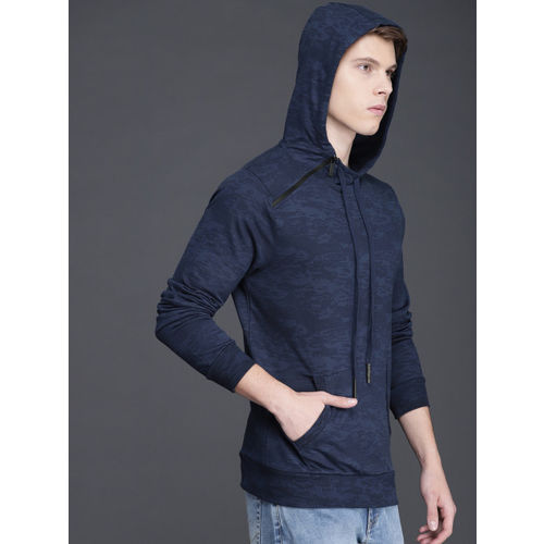 WROGN Men Navy Blue Printed Hooded Sweatshirt