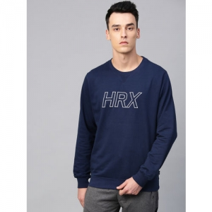 HRX by Hrithik Roshan Men Navy Blue Lifestyle Round Neck Embroidered Sweatshirt