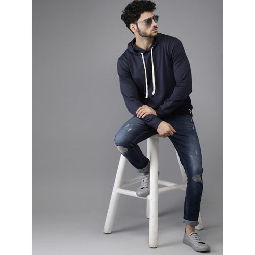 Campus Sutra Men Navy Blue Solid Hooded Sweatshirt