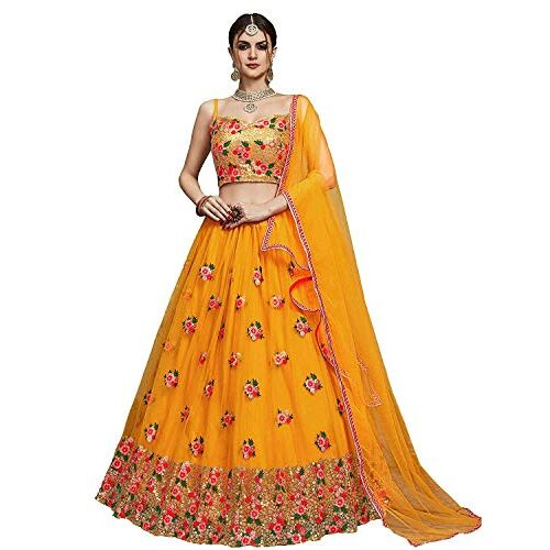 MEGHALYA Bridal Collection Women's Thread, Sequins Embroidered Soft Net Lehenga Choli with Soft Net Dupatta