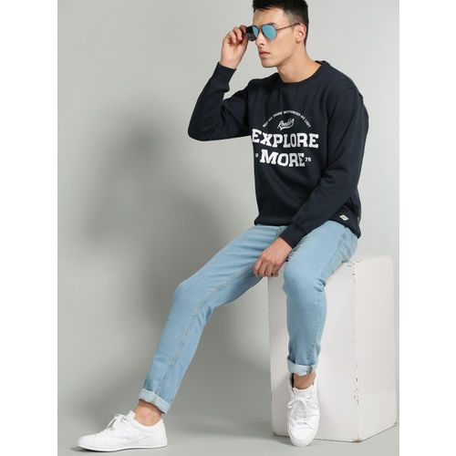 Roadster Men Navy Blue & White Printed Sweatshirt