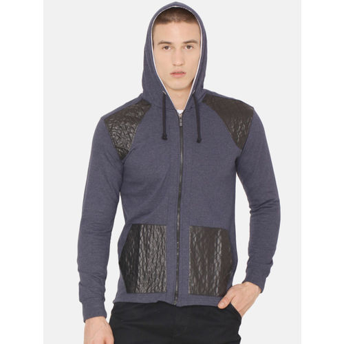 ARISE Men Navy Blue Colourblocked Hooded Sweatshirt