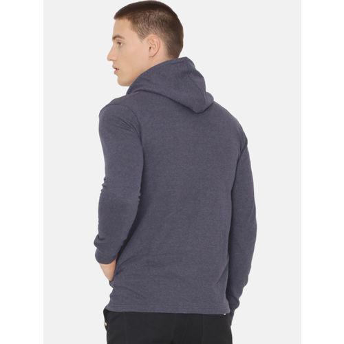 ARISE Men Navy Blue Colourblocked Hooded Sweatshirt