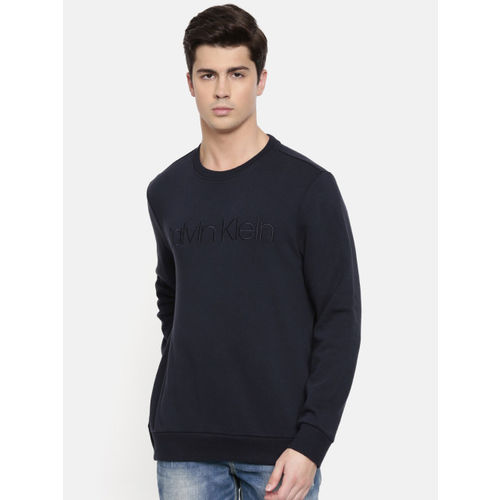 Calvin Klein Jeans Men Navy Blue Self-Design Sweatshirt