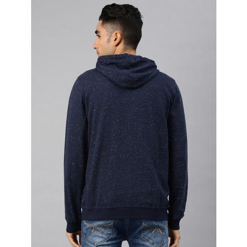 Peter England Men Navy Blue Printed Hooded Sweatshirt
