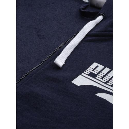 Puma Men Navy Blue Printed Rebel Bold FZ FL Hooded Sweatshirt