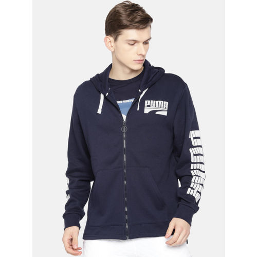 Puma Men Navy Blue Printed Rebel Bold FZ FL Hooded Sweatshirt
