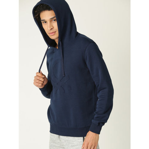 United Colors of Benetton Men Navy Blue Embossed Print Hooded Sweatshirt