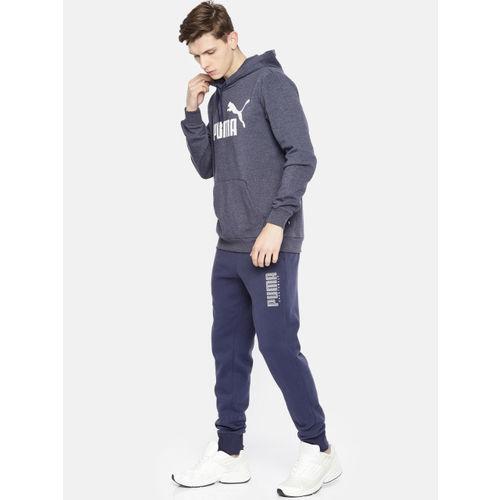 Puma Men Navy Blue Printed Hooded ESS+ Hoody FL Sweatshirt