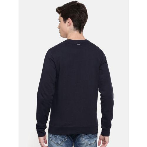 Calvin Klein Jeans Men Navy Blue & White Printed Sweatshirt