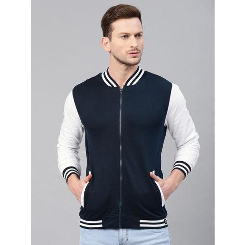 Genius18 Men Navy Blue & White Solid Sweatshirt