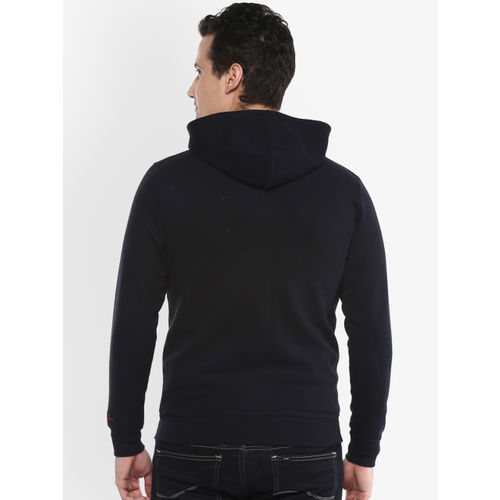AXMANN Men Navy Blue Solid Hooded Sweatshirt