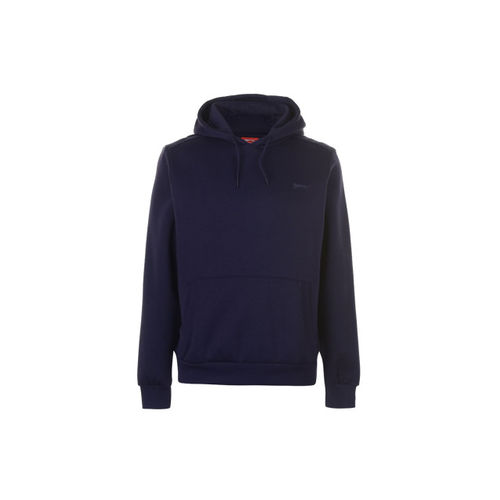 Slazenger Men Navy Blue Solid Hooded Sweatshirt