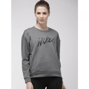 Nike Women Grey Printed Thermal Sweatshirt