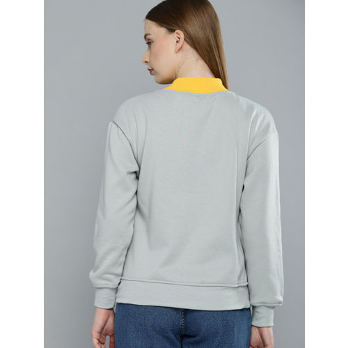 Harvard Women Grey Printed Sweatshirt