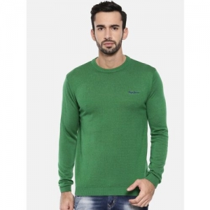 Pepe Jeans Solid Round Neck Casual Men Green Sweater