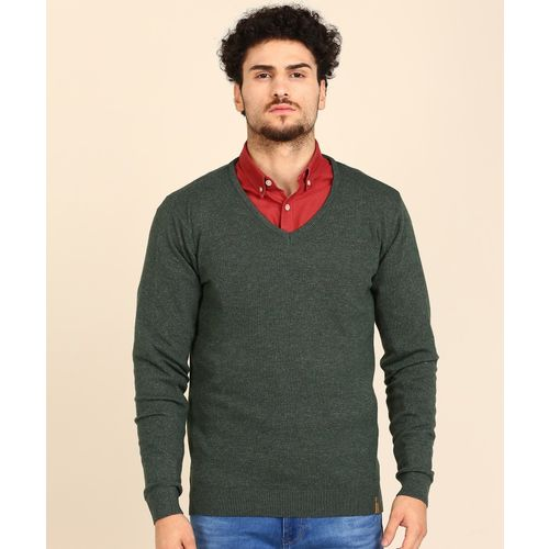 Peter England Solid V Neck Casual Men Green Sweater