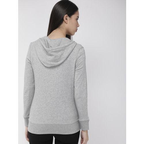 Levis Women Grey Solid Hooded Sweatshirt
