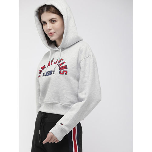 Tommy Hilfiger Women Grey Embroidered Hooded Cropped Sweatshirt