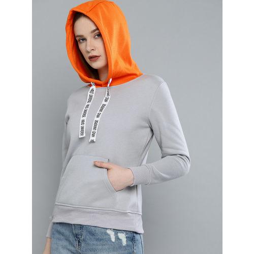 Harvard Women Grey Solid Hooded Pullover Sweatshirt