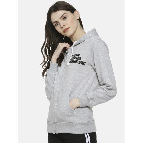 Campus Sutra Women Grey Printed Hooded Sweatshirt