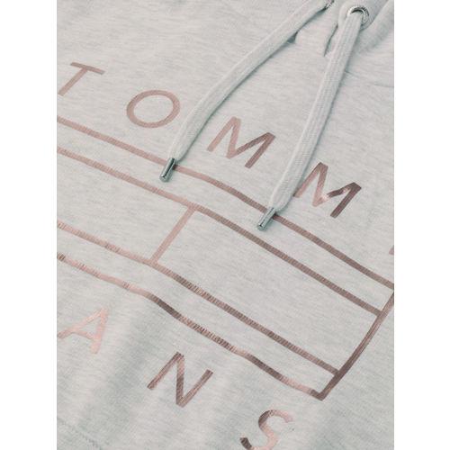 Tommy Hilfiger Women Grey Printed Hooded Sweatshirt