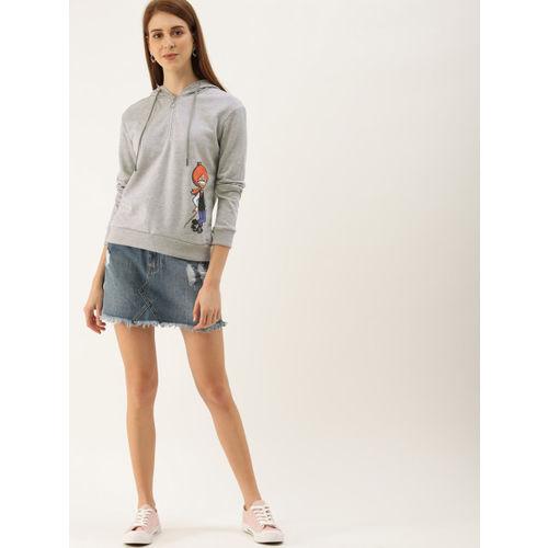 NUSH Women Grey Printed Hooded Sweatshirt