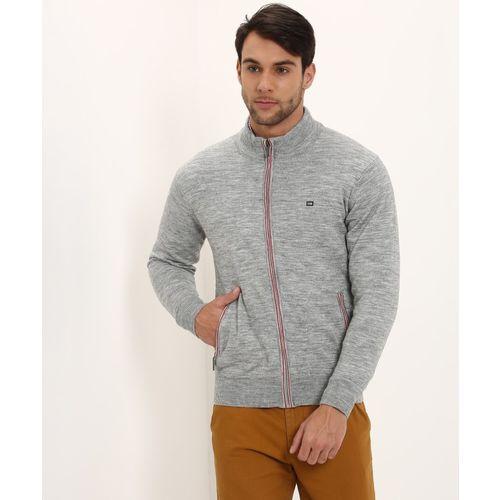 Arrow Sport Self Design High Neck Casual Men Grey Sweater