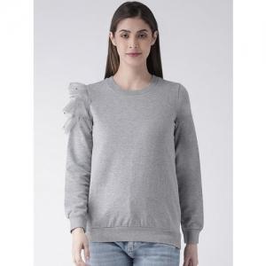 The Vanca Women Grey Solid Sweatshirt