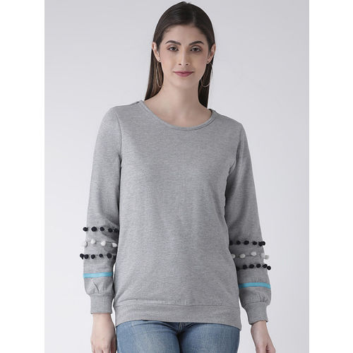 The Vanca Women Grey Solid Sweatshirt